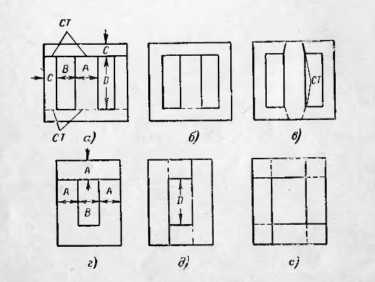 схема магнитопровода броневого трансформатора