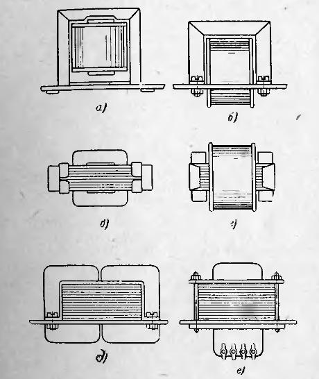 стяжка магнитопроводов и крепление трансформаторов