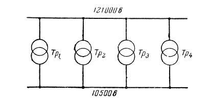 Параллельная работа 4-х трансформаторов